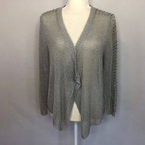 INC Int Concepts Silver & Gray Mesh Knit Cardigan